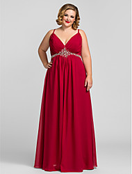 cheap -A-Line V Neck Floor Length Chiffon Prom / Formal Evening / Military Ball Dress with Crystal Detailing Draping Side Draping by TS Couture®