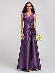 Недорогие -Футляр V-образный вырез В пол Тафта Платье для подружек невесты с Кристаллы / Перекрещивание / Цветы от LAN TING BRIDE®