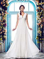 cheap -Sheath / Column Plunging Neckline Floor Length Chiffon Wedding Dress with Beading Appliques Draped by LAN TING BRIDE®