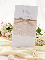 "Wrap & Pocket Wedding Invitations Invitation Cards Classic Style Pearl Paper 8 ½""×4 ½"" (21.5*11.5cm) Bows Pearlised"