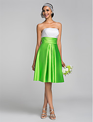 cheap -A-Line Princess Strapless Knee Length Satin Bridesmaid Dress with Ruching by LAN TING BRIDE®