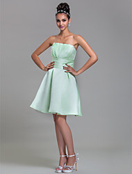 A-Line Strapless Knee Length Satin Bridesmaid Dress with Draping Ruching by LAN TING BRIDE®
