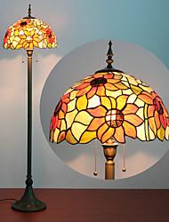 Недорогие -Цветочный узор торшер, 2 Легкий, Тиффани смола стекла Процесс картины