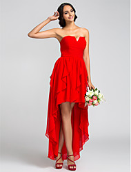 cheap -A-Line Strapless Asymmetrical Chiffon Bridesmaid Dress with Ruching Cascading Ruffles by LAN TING BRIDE®