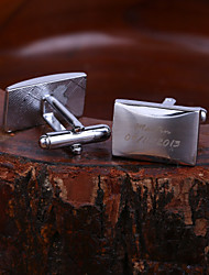 cheap -Personalized Gift Rectangle Engraved Cufflinks