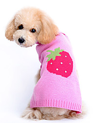 Dog Sweater Pink Dog Clothes Winter Spring/Fall Fruit Cute