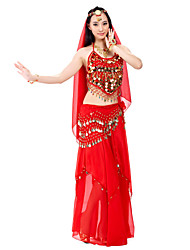 cheap -Belly Dance Outfits Women's Performance Chiffon Beading Sequin Coin 7.87inch(20cm) Top Skirt Hip Scarf