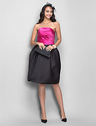 cheap -A-Line Princess Strapless Knee Length Satin Homecoming Prom Dress with Draping Side Draping Ruching by TS Couture®