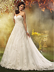 A-Line Princess Sweetheart Court Train Tulle Wedding Dress with Appliques Criss-Cross by LAN TING BRIDE®