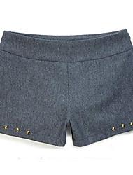 Недорогие -ИННА Женские Серый Твид руно заклепки короткие штаны