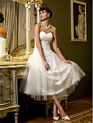 cheap -A-Line Sweetheart Neckline Tea Length Tulle Made-To-Measure Wedding Dresses with Criss-Cross by LAN TING BRIDE®