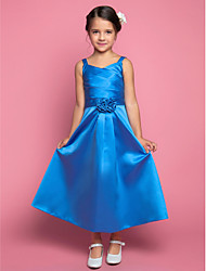 cheap -A-Line Ankle Length Flower Girl Dress - Satin Sleeveless Spaghetti Strap with Side Draping / Criss Cross / Flower by LAN TING BRIDE®