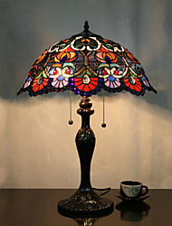 cheap -Flower Pattern Table Lamp, 2 Light, Tiffany Zinc Alloy Glass Painting