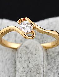 Chapeamento de ouro Zircon Anel J27050 das KU NIU Mulheres