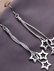 baratos -Mulheres Brincos Compridos - Estrela Prata Para