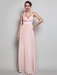 Sheath / Column V-neck Floor Length Chiffon Prom Formal Evening Military Ball Dress with Beading Criss Cross by TS Couture®