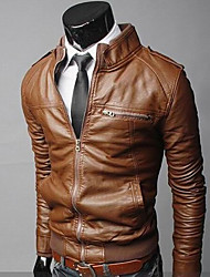 VSKA Mænds Pu Leather Stand Collar Coat