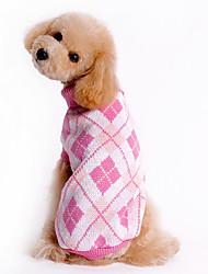 baratos -Cachorro Súeters Roupas para Cães Xadrez Azul Rosa claro Ocasiões Especiais Para animais de estimação