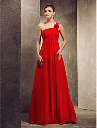 Linea-A Monospalla Lungo Chiffon Vestito da damigella con Fiore (i) A pieghe di LAN TING BRIDE®