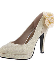 Women's Spring Summer Fall Leatherette Wedding Stiletto Heel Flower Gold Red Red Gold