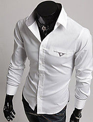 billige -Herre-Ensfarvet Basale Skjorte