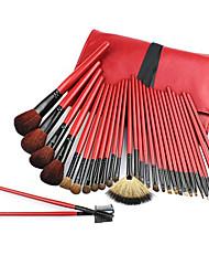 Недорогие -Pro Высокое качество 30 шт натурального козьего волос ярко-красный набор кистей Макияж с ПУ мешок