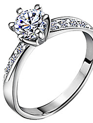 cheap -Women's Zircon Silver Plated Band Ring - Six Prongs Classic Love Bridal For Wedding Anniversary Gift Daily