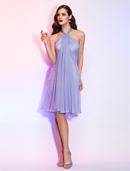 cheap -A-Line Halter Neck Knee Length Chiffon Cocktail Party Dress with Crystal Brooch by TS Couture®