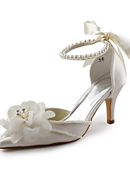 cheap -Women's Shoes Stretch Satin Satin Spring Summer Fall D'Orsay & Two-Piece Stiletto Heel Flower for Wedding Party & Evening White Ivory