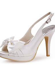 Do cetim das mulheres casamento Stiletto Pee Toe / Bombas de sapatos de salto com bowknot (mais cores)
