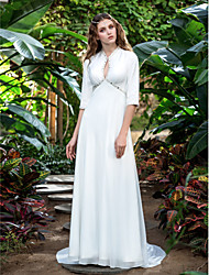 Sheath / Column V-neck Court Train Georgette Wedding Dress with Beading by LAN TING BRIDE®