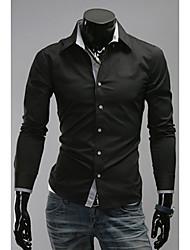 Uomo DJJM Fashion Leisure Nuova Manica Lunga Collo minuscolo Modifica Shirt (Schermo a colori)