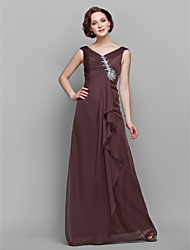 cheap -A-Line V-neck Floor Length Chiffon Mother of the Bride Dress with Crystal Detailing Side Draping Ruffles by LAN TING BRIDE®