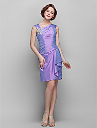 Sheath / Column V-neck Knee Length Taffeta Mother of the Bride Dress with Flower(s) Lace Ruching by LAN TING BRIDE®