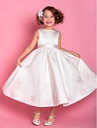 Vestito ragazza da fiore lunghezza tè / colonna colonna - tulle satinato maniche lunghe con applique da lan ting bride®
