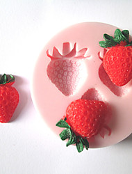 cheap -Three Holes Strawberry Fruit Silicone Mold Fondant Molds Sugar Craft Tools Chocolate Mould  For Cakes
