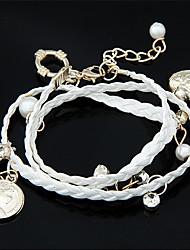 Femme Charmes pour Bracelets Bracelets Perle Tissu Imitation de diamant Mode Forme de Coeur Amour Blanc Noir Orange Rouge Rose Bijoux