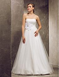 A-linje Stropløs Gulvlang Tyl Bryllupskjole med Perlearbejde Bælte / bånd Sløjfe Blomst ved LAN TING BRIDE®