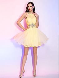 cheap -A-Line Illusion Neck Short / Mini Chiffon Cocktail Party Dress with Beading / Crystals / Ruched by TS Couture®