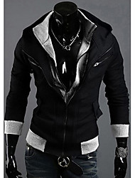 LJCP Trendy Oblique Zipper Design Coat (Sort)