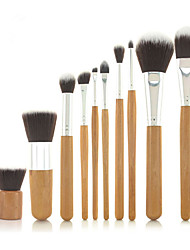 cheap -Pro High Quality 10 PCs Synthetic Hair Bamboo Handel Makeup Brush Set with Fibre Bag