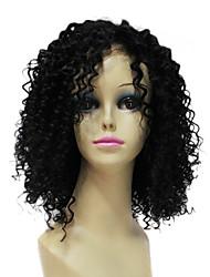 Недорогие -Remy человеческих Очаровательная 100% Волосы Короткие черный кудрявый парик фронта шнурка волос