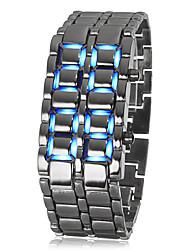 Hommes Montre Bracelet Bracelet de Montre Numérique LED Calendrier Acier Inoxydable Bande Cool Noir Noir