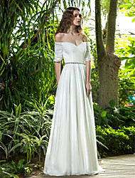 cheap -A-Line Off Shoulder Floor Length Chiffon Custom Wedding Dresses with Crystal Criss-Cross Ruched by LAN TING BRIDE®