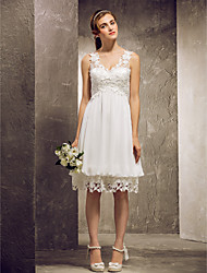 A-Line Princess V-neck Knee Length Chiffon Lace Bridesmaid Dress with Lace Pleats by LAN TING BRIDE®