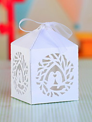 Cubic Pearl Paper Favor Holder With Bow Favor Boxes-12 Wedding Favors