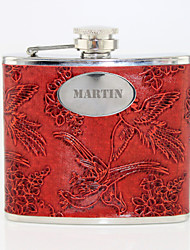 cheap -Personalized Gift Phoenix Pattern Red 5oz PU Leather Capital Letters Flask
