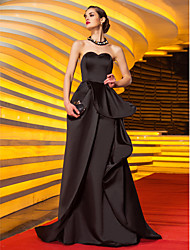 A-Line Sweetheart Sweep / Brush Train Satin Prom Formal Evening Military Ball Dress with Appliques Sash / Ribbon Pleats by TS Couture®