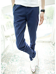 Men's Solid Casual Chinos,Cotton Blue