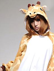 baratos -Adulto Pijamas Kigurumi Girafa Pijamas Macacão Ocasiões Especiais Velocino de Coral Laranja Cosplay Para Pijamas Animais desenho animado Dia das Bruxas Festival / Celebração